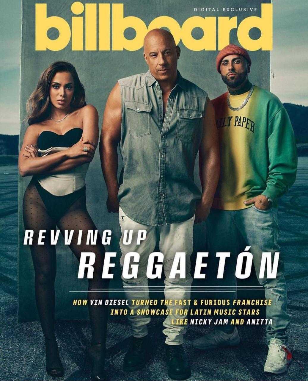 Anitta estampa capa digital da 'Billboard' ao lado de Vin Diesel e Nicky Jam (Foto: Reprodução/Instagram)