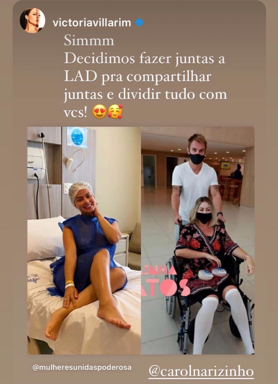 As ex-peoas Carol Narizinho e Victória Villarim revelaram as dificuldades da Lipo LAD (Foto: Reprodução/Instagram)