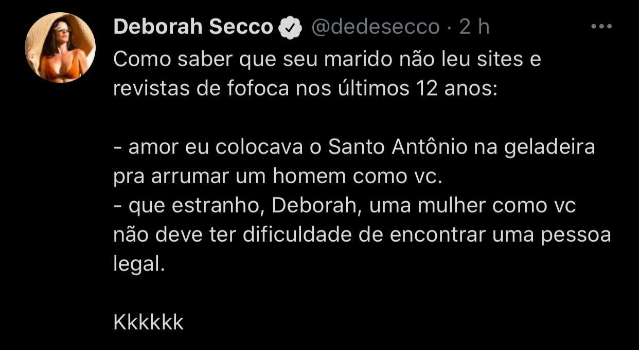 Deborah Secco relembra antiga simpatia e brinca com o marido: 'Não leu sites e revistas de fofoca' (Reprodução/Twitter)