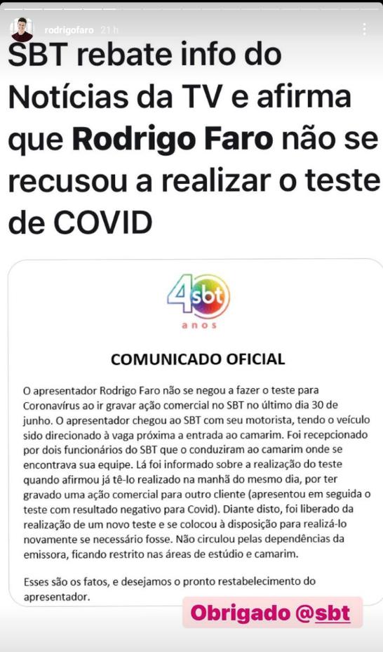 Storie de Rodrigo faro agradecendo ao SBT por prestar esclarecimento sobre a polêmica