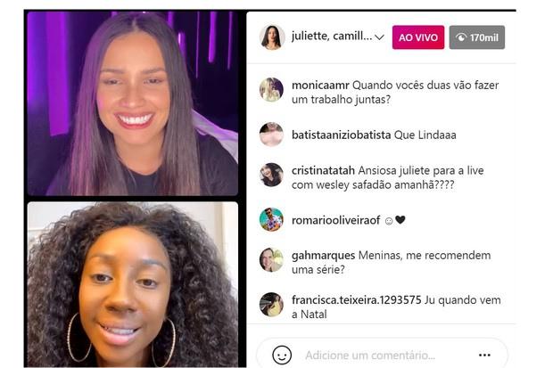 Juliette e Camilla de Lucas em live no Instagram (Foto: Instagram/Reprodução)