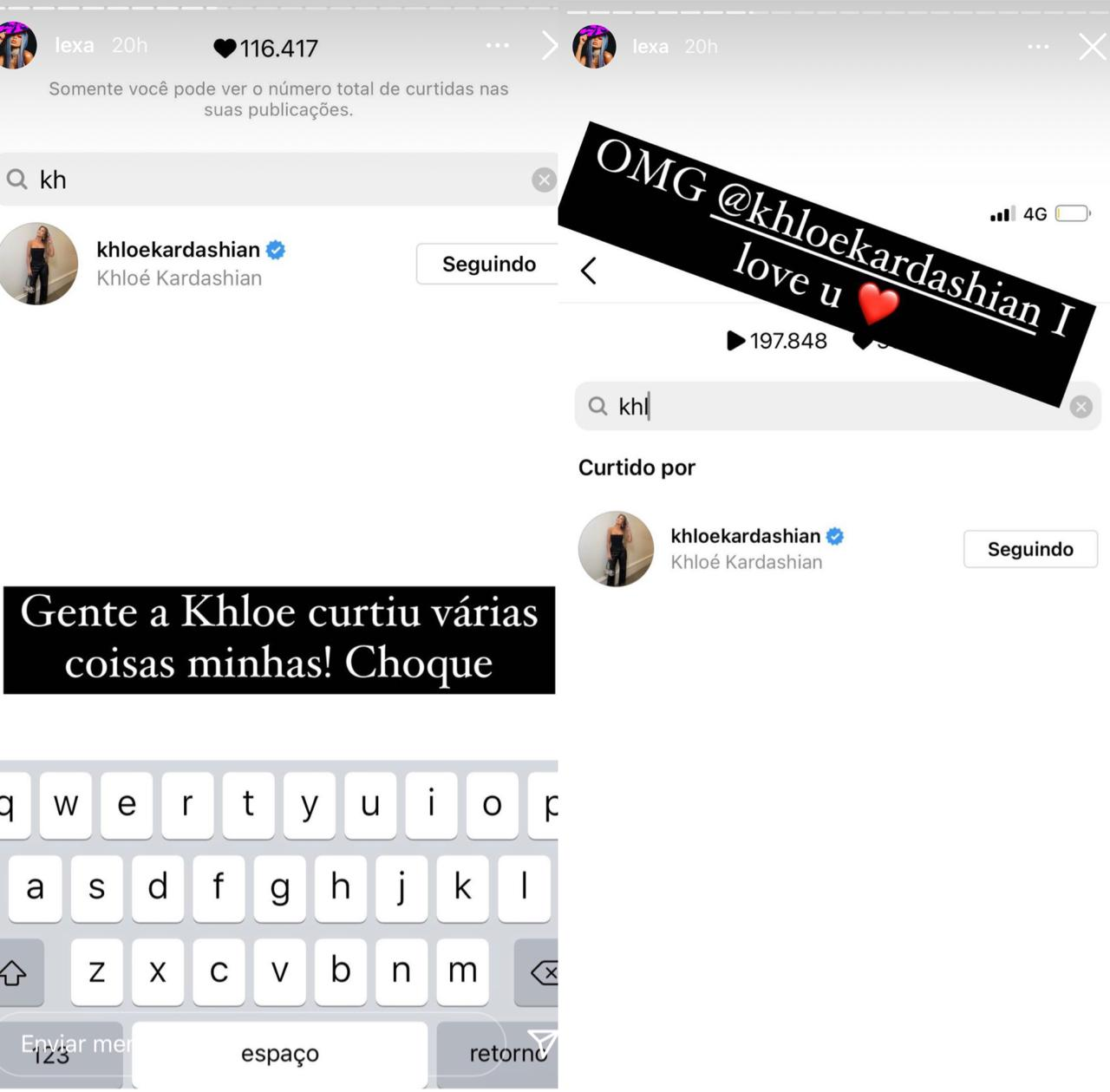 Lexa comemora curtida de Khloe Kardashian no Instagram: 'Te amo' (Foto: Reprodução/Instagram)