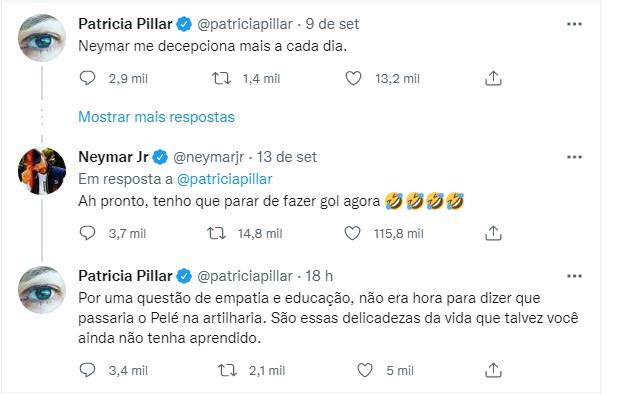 (Neymar Jr e Patricia Pillar trocam farpas, Reprodução/Instagram)