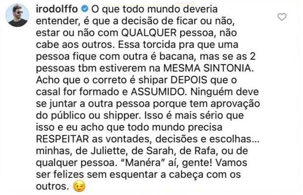 Rodolffo sobre 'shipper' com Juliette, Sarah e Rafa: 'Maneirem aí, gente' (Foto: Reprodução/Instagram)