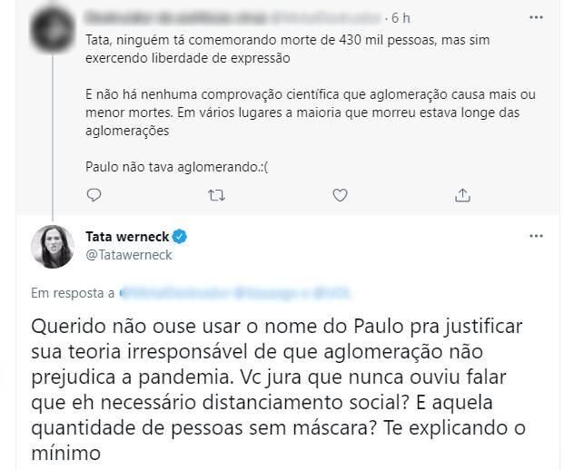 Tatá Werneck se irrita com seguidor que citou Paulo Gustavo para defender aglomeração (Foto: Reprodução/Twitter)