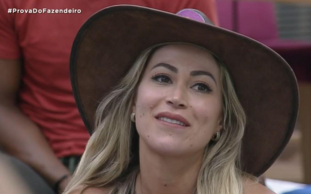 (Carol Narizinho fazendeira da semana. Foto; Reprodução Rede Record)
