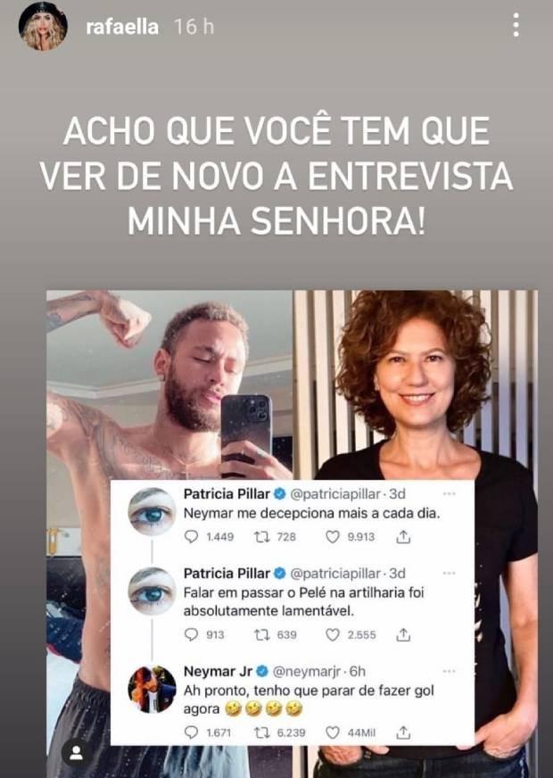 (Rafaella Santos manda recado para Pillar nas redes sociais, Reprodução/Instagram)
