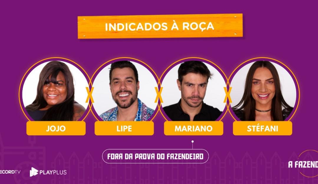 A Fazenda 12: Jojo, Mariano, Stéfani e Lipe formam a 13ª roça da temporada