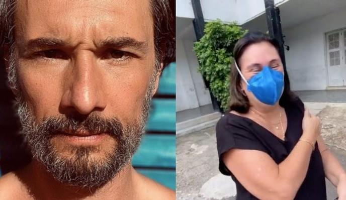 Mãe de Rodrigo Santoro é vacinada e ator se emociona: 'Emoção que nunca tinha experimentado antes'