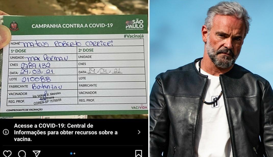 Mateus Carrieri é vacinado contra Covid-19
