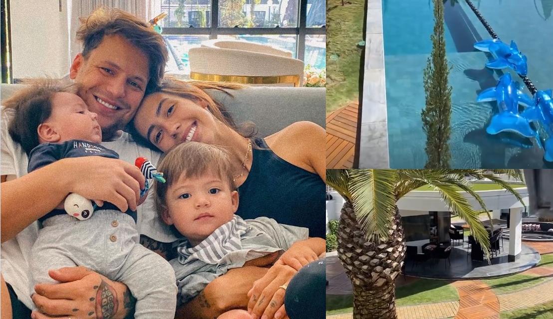 Gabi Brandt faz tour pela mansão em que vive com Saulo Poncio e seus filhos