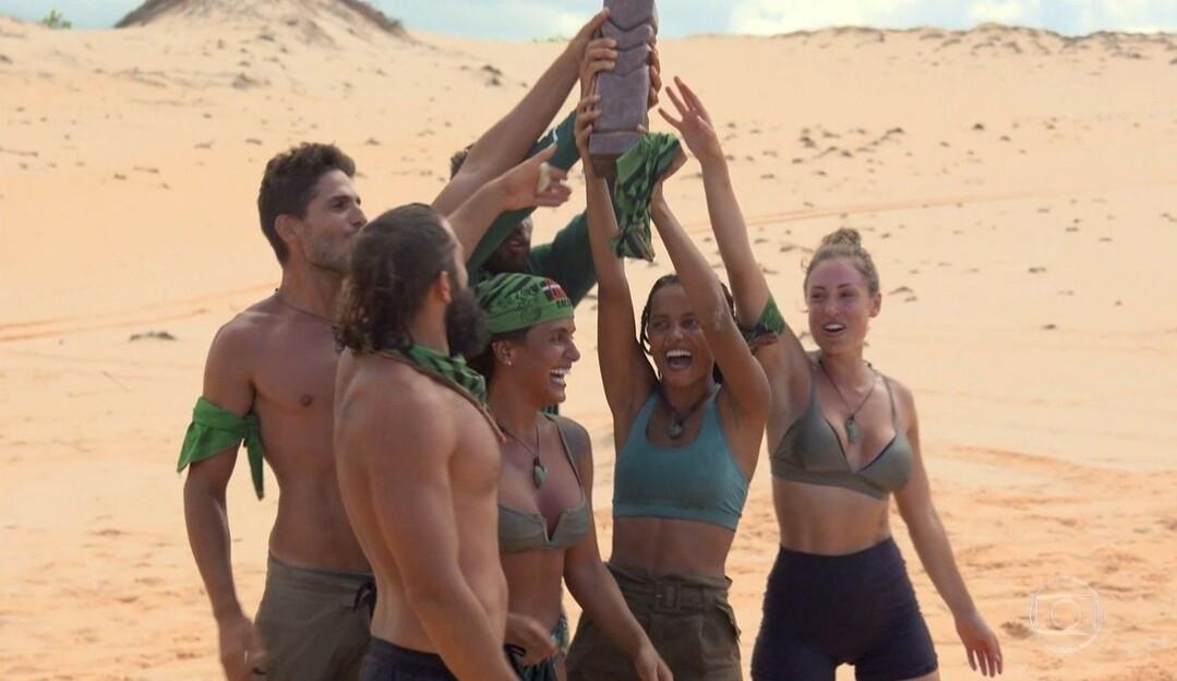 Após vencer Prova da Imunidade pela segunda vez seguida, tribo Calango fala sobre novas metas; confira