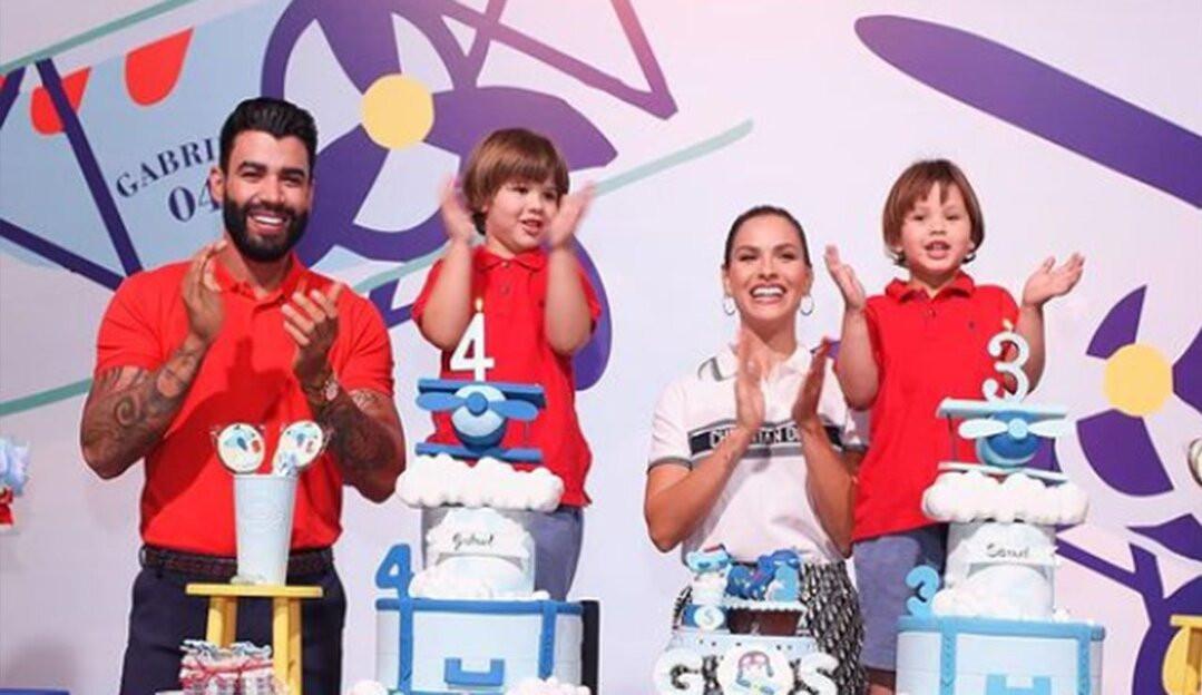 Andressa Suita publica fotos com Gusttavo Lima na comemoração de aniversário dos filhos