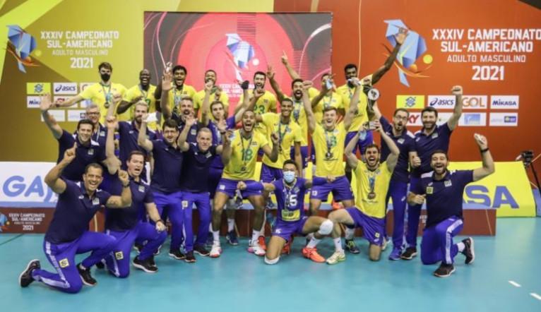 Brasil vence Argentina no Sul-americano de vôlei masculino e conquista 33º título