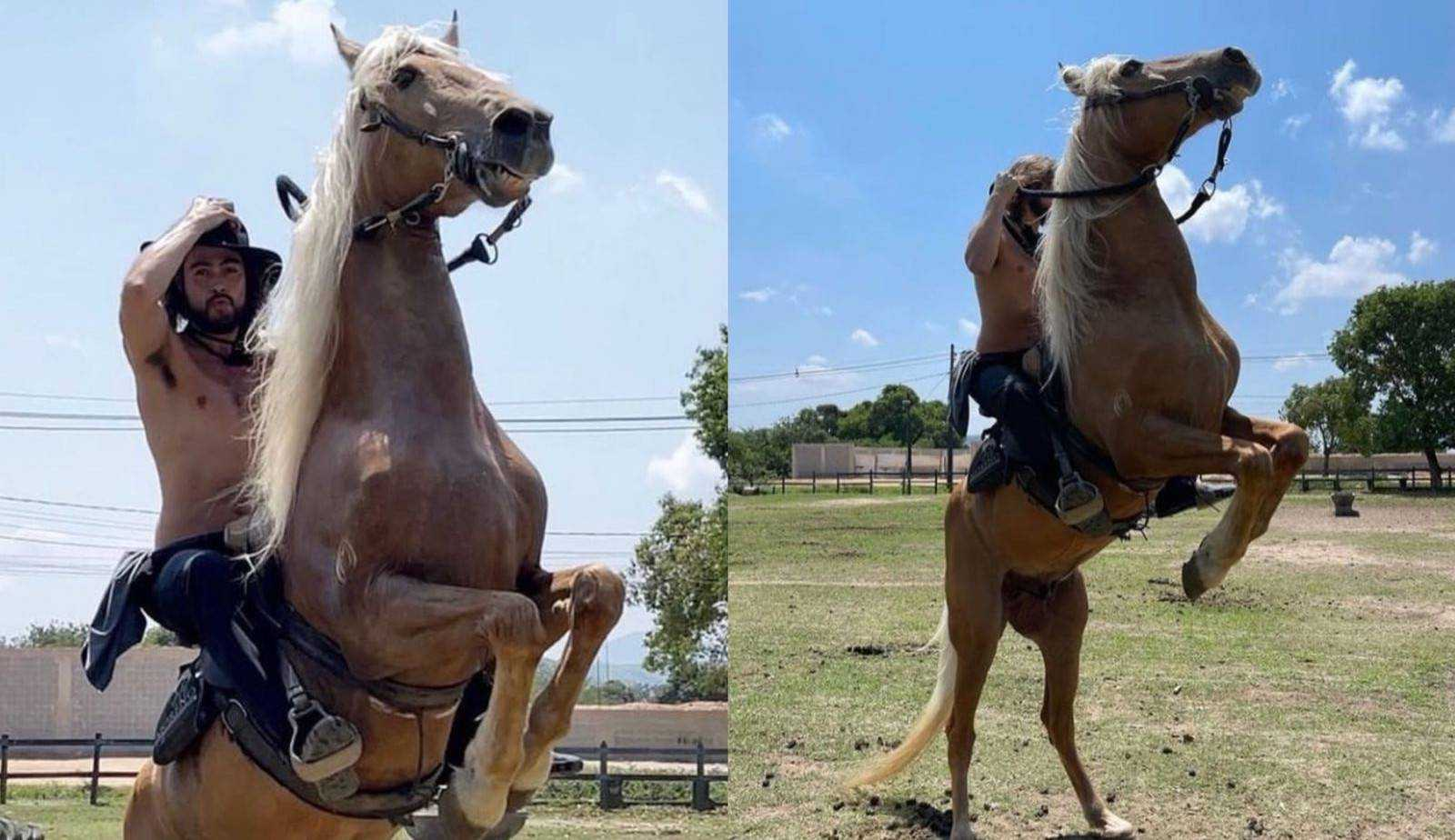 Rafa Vitti anda a cavalo para gravação de nova novela e Tatá brinca: 'Meu Paula Fernandes'